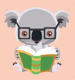 free koala bear reading a book vector graphic [ 1300 x 1300 Pixel ]