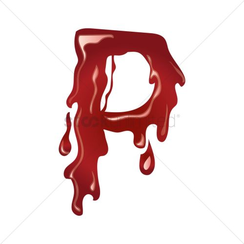 small resolution of letter p with dripping blood vector graphic