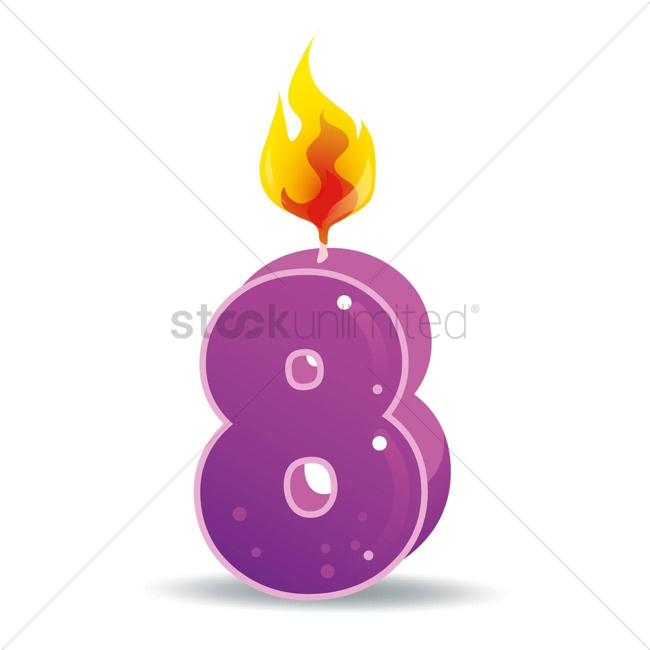 Free Number 8 Candle Vector Image