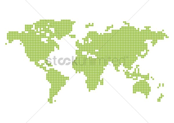 Pixelated world map Vector Image 2008792 StockUnlimited