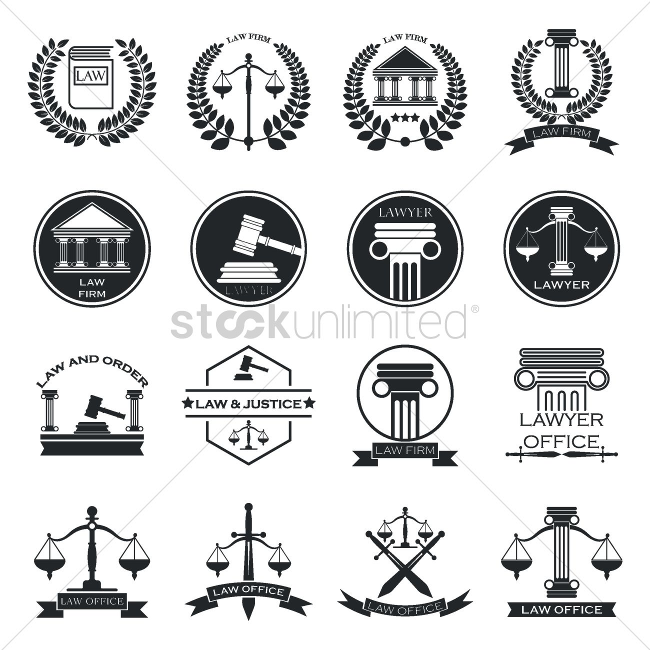 Set Of Law Logo Element Icons Vector Image