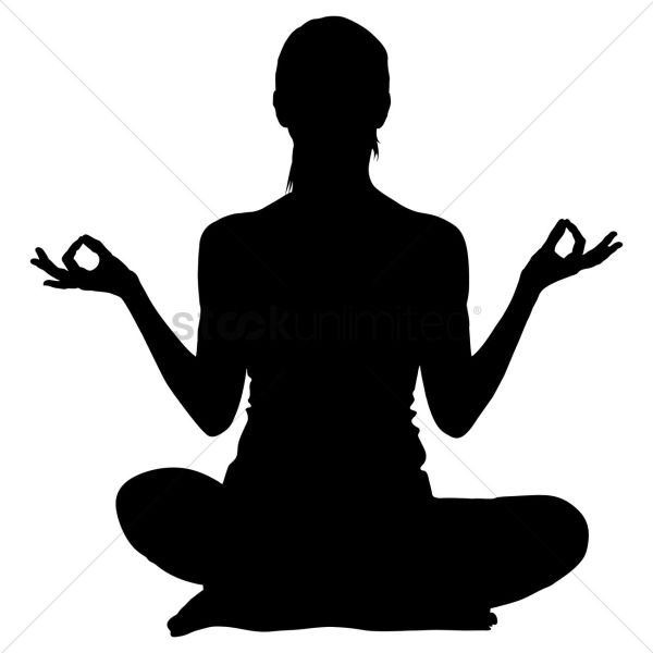 Silhouette Of Woman Practicing Yoga Vector