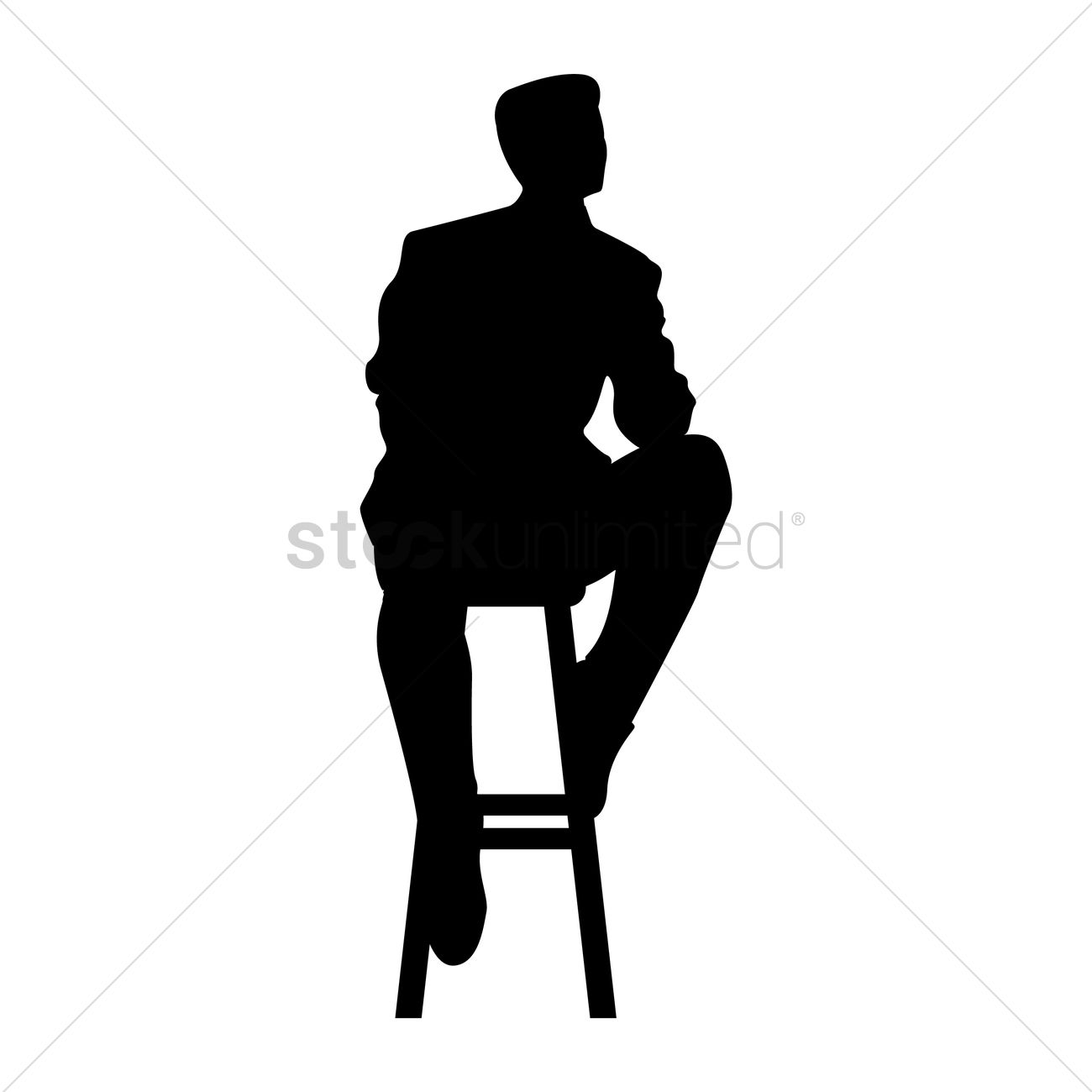 chair design bangladesh polycarbonate mat silhouette of man sitting on stool vector image - 1632976   stockunlimited