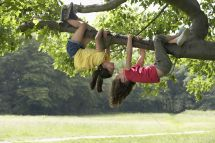 Girl Hanging From Tree Upside Down