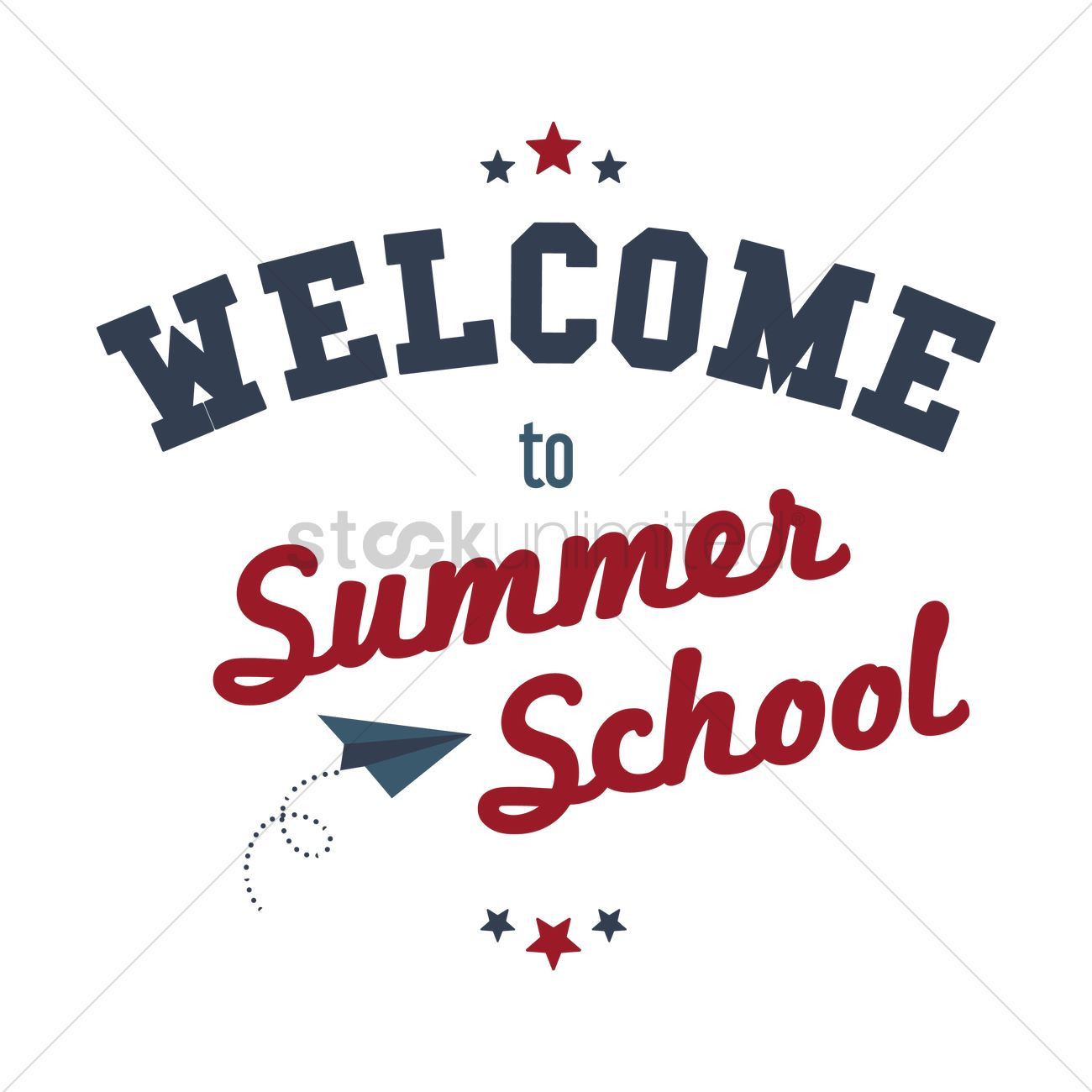 hight resolution of welcome to summer school text vector graphic