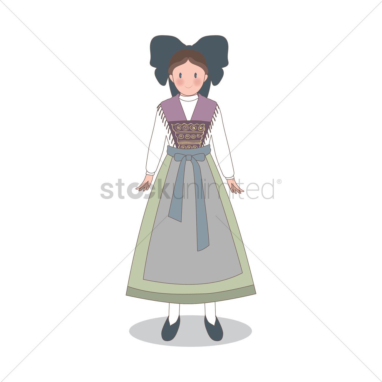 Free Woman Wearing France Traditional Dress Vector Image