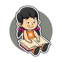 Cartoon Character Characters Cute Adorable Girl Girls Human People Person Studying Learning Study Lay Lying Laying Book Books Free Vector Graphics Clip Art Icons Photos and Images StockUnlimited
