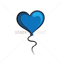 free a helium blue heart balloon vector graphic [ 1300 x 1300 Pixel ]