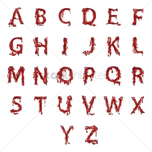 small resolution of alphabets with dripping blood vector graphic