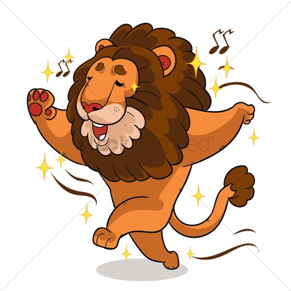Cartoon Lion Singing And Dancing Vector - 1957561