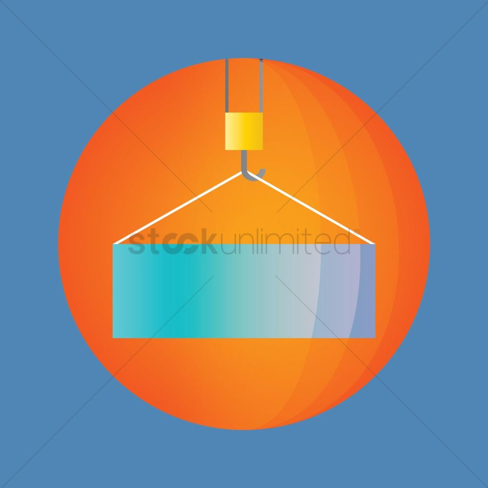 medium resolution of container hanging on a crane hook vector graphic