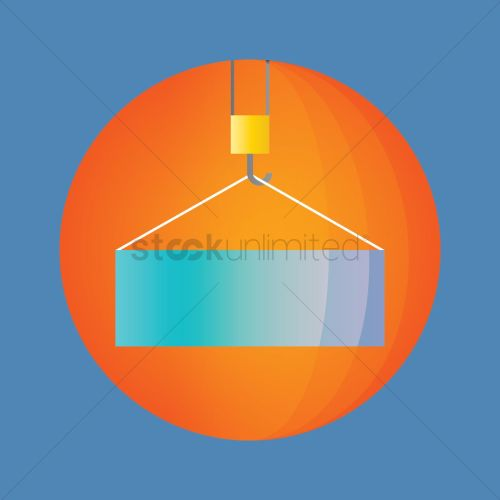 small resolution of container hanging on a crane hook vector graphic