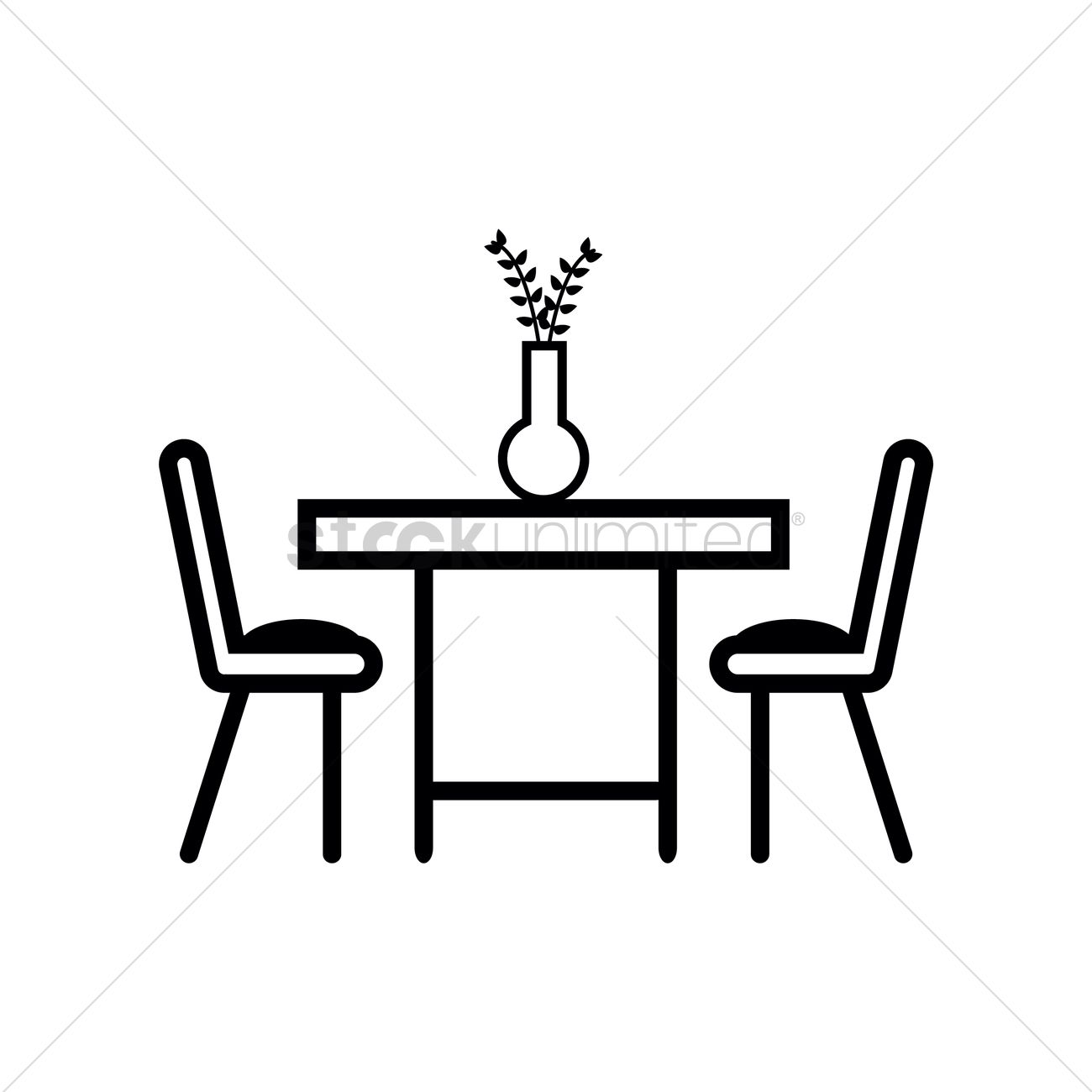Dining table with two chairs Vector Image  1371733