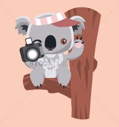 free koala bear holding a camera vector graphic [ 1300 x 1300 Pixel ]