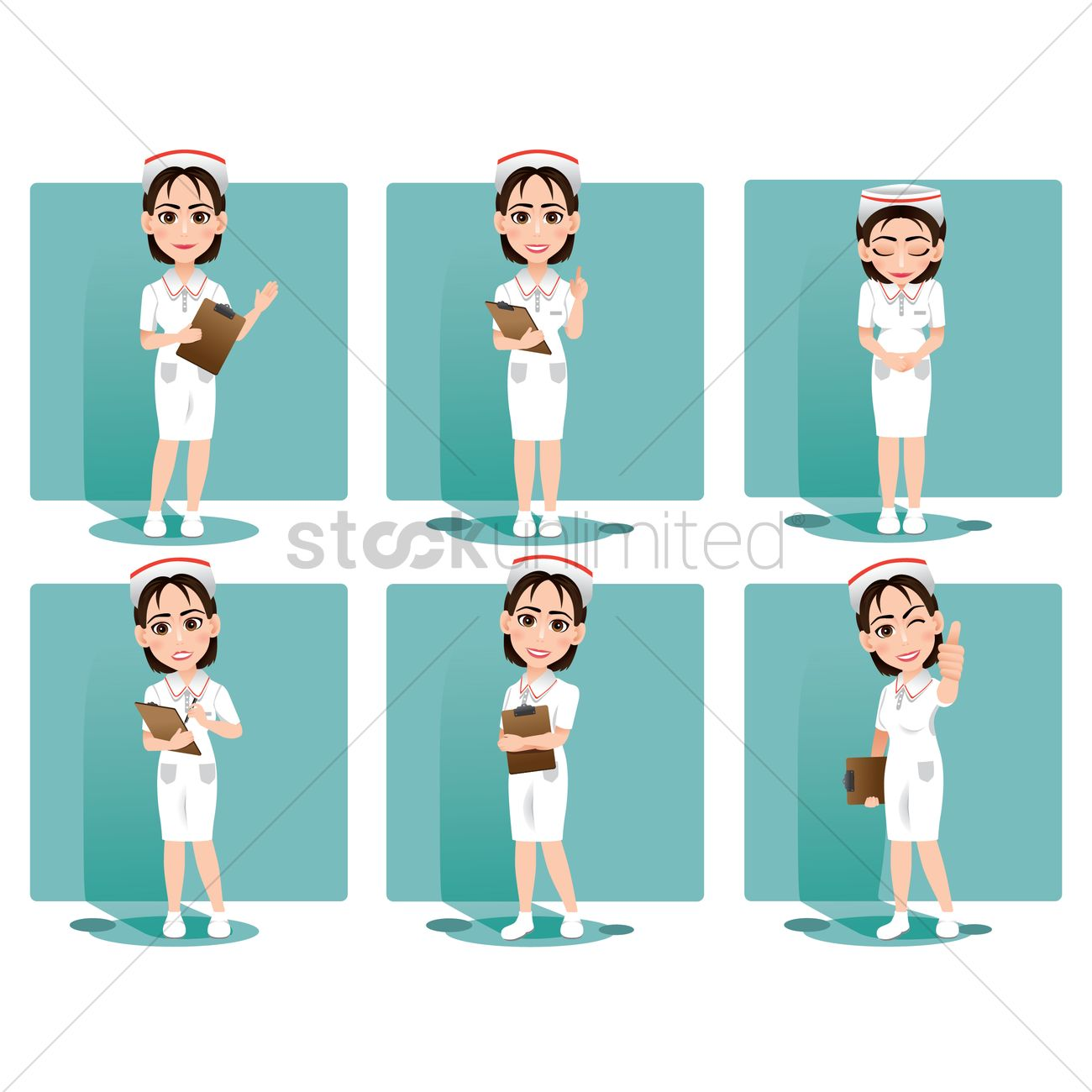 Nurse Doing Various Activities Collection Vector Image