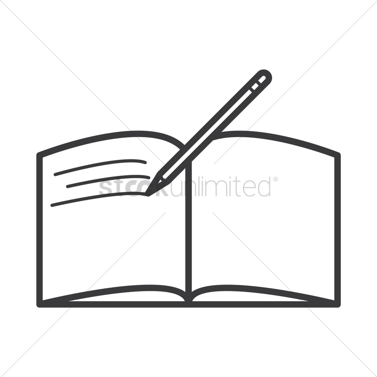 Open Book With Pen Icon Vector Image