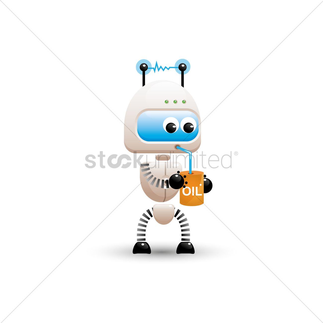 robot drinking oil vector