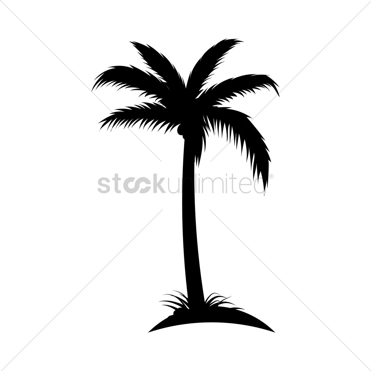Silhouette Of Coconut Tree Vector Image