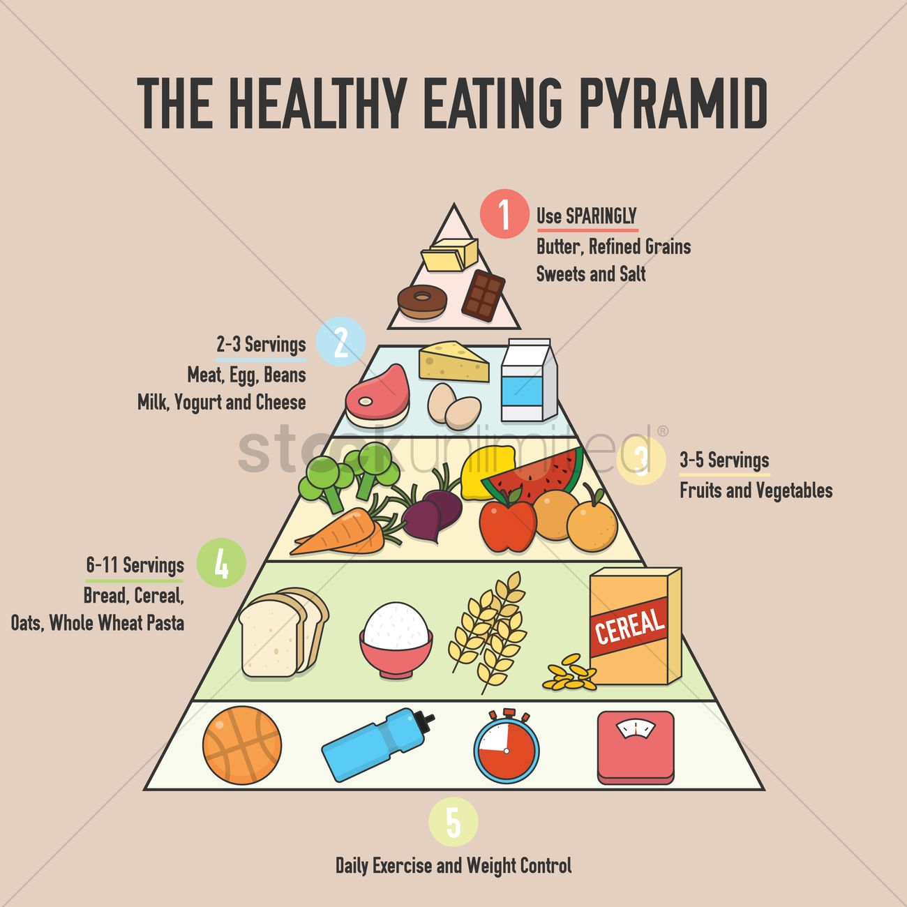 The Healthy Eating Pyramid Design Vector Image