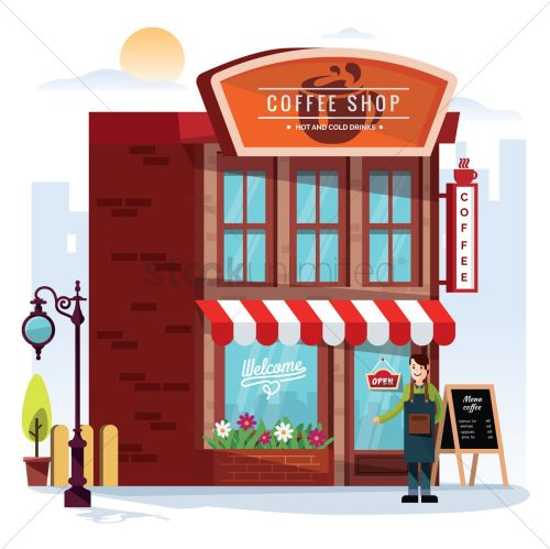 small resolution of waiter outside a cafe vector graphic