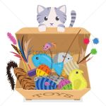 A Cat With A Box Of Toys Vector Image 1263798 Stockunlimited