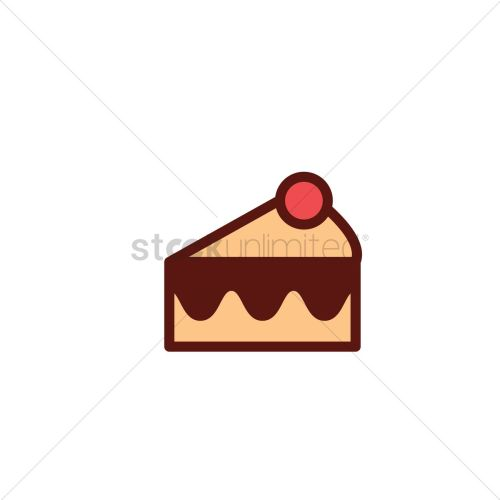 small resolution of a slice of cake with cherry topping vector graphic