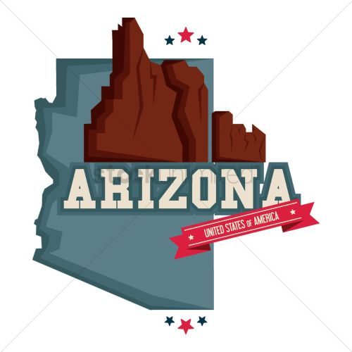 small resolution of arizona map with grand canyon vector graphic