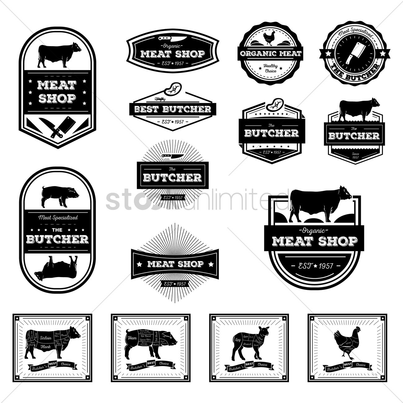 Butcher Labels And Diagrams Vector Image
