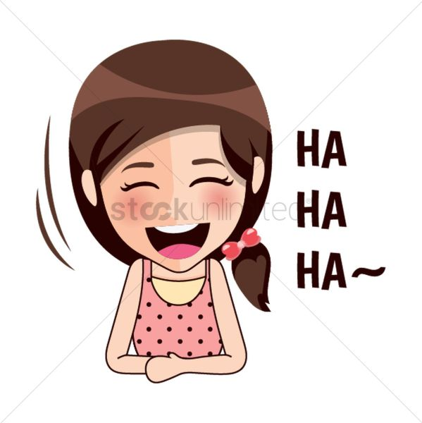 cartoon girl laughing vector
