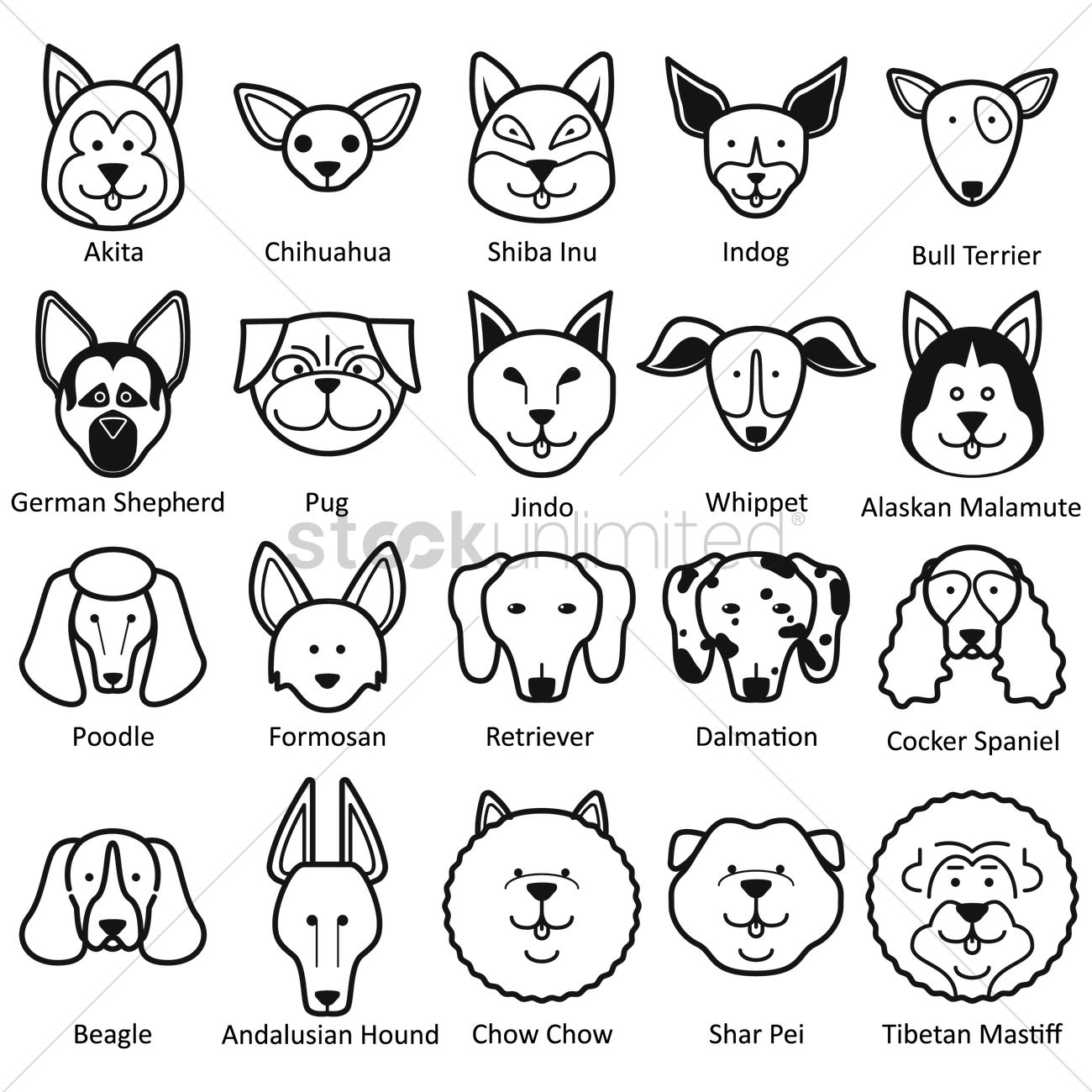 Collection Of Dog Faces Vector Image