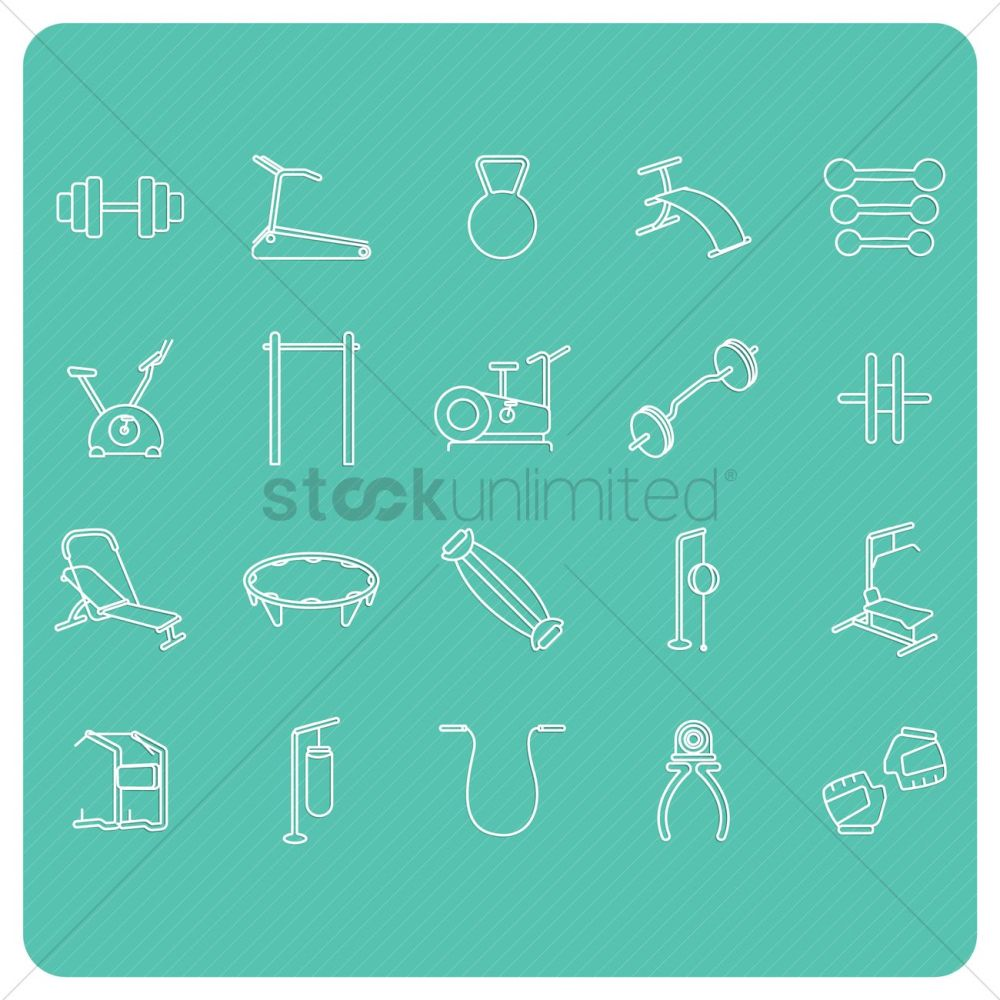 medium resolution of collection of gym equipment vector graphic