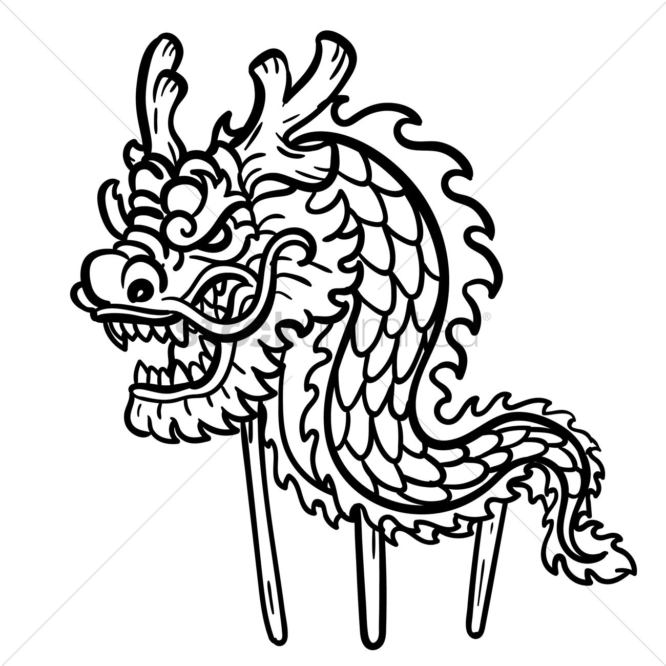 Dragon Dance With Wooden Poles Vector Image