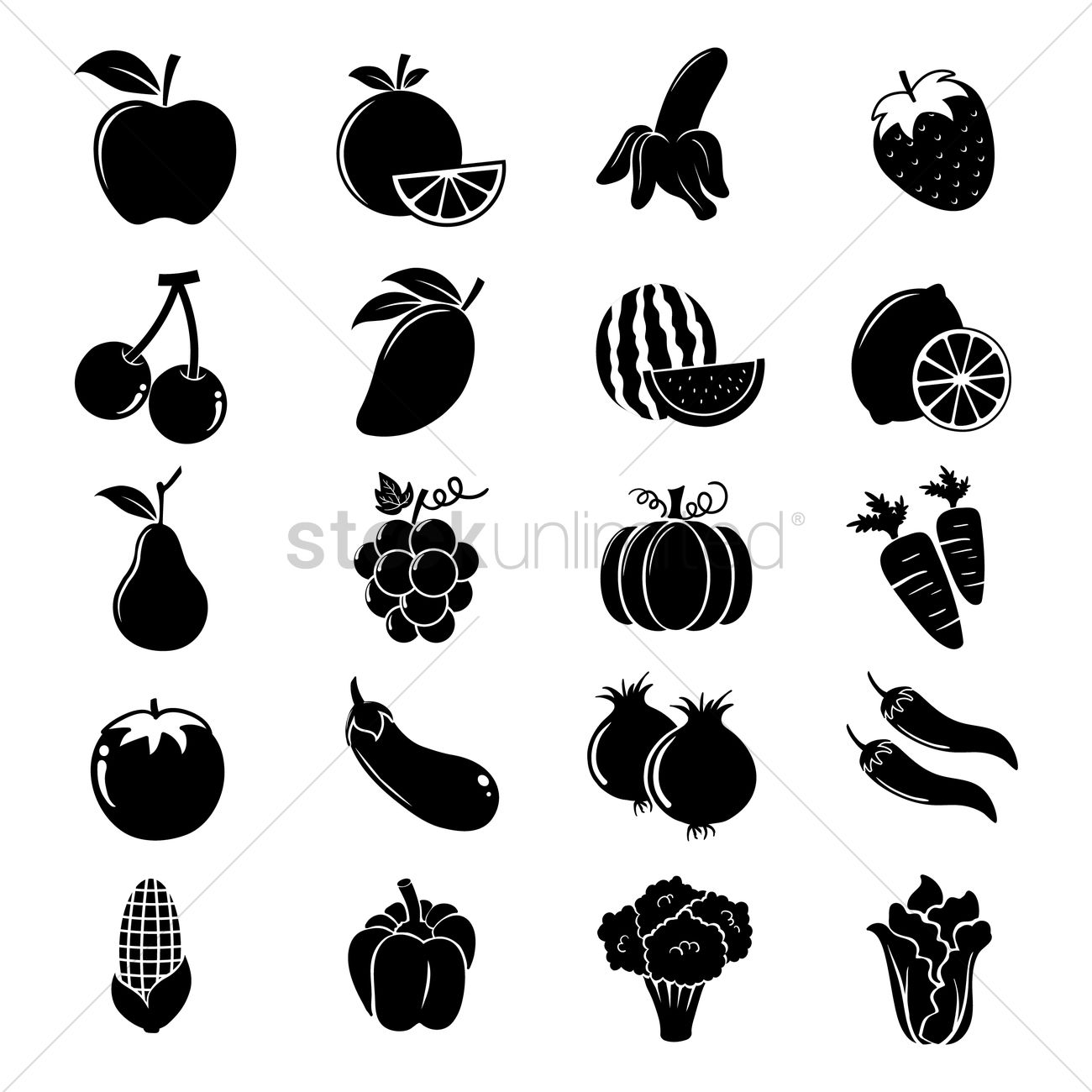 Fruit And Vegetable Silhouettes Vector Image