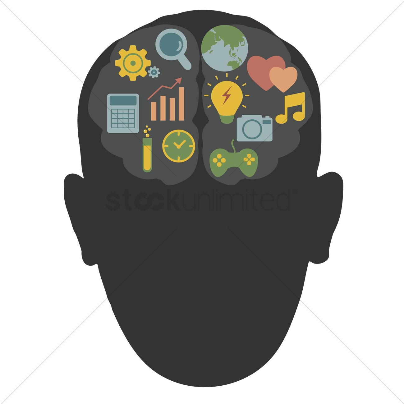 Human Head Silhouette With Brain Art Vector Image