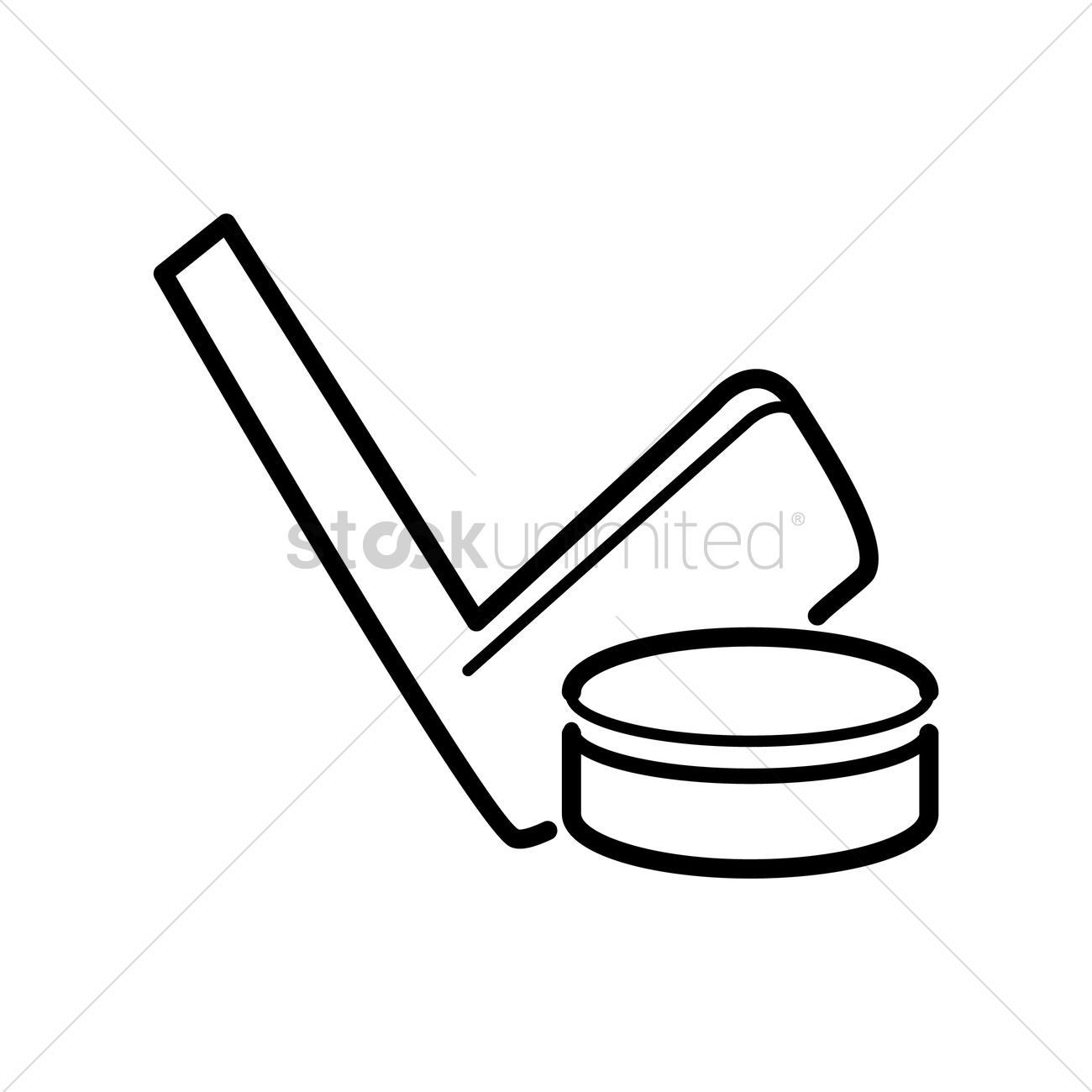 Ice Hockey Stick And Puck Vector Image
