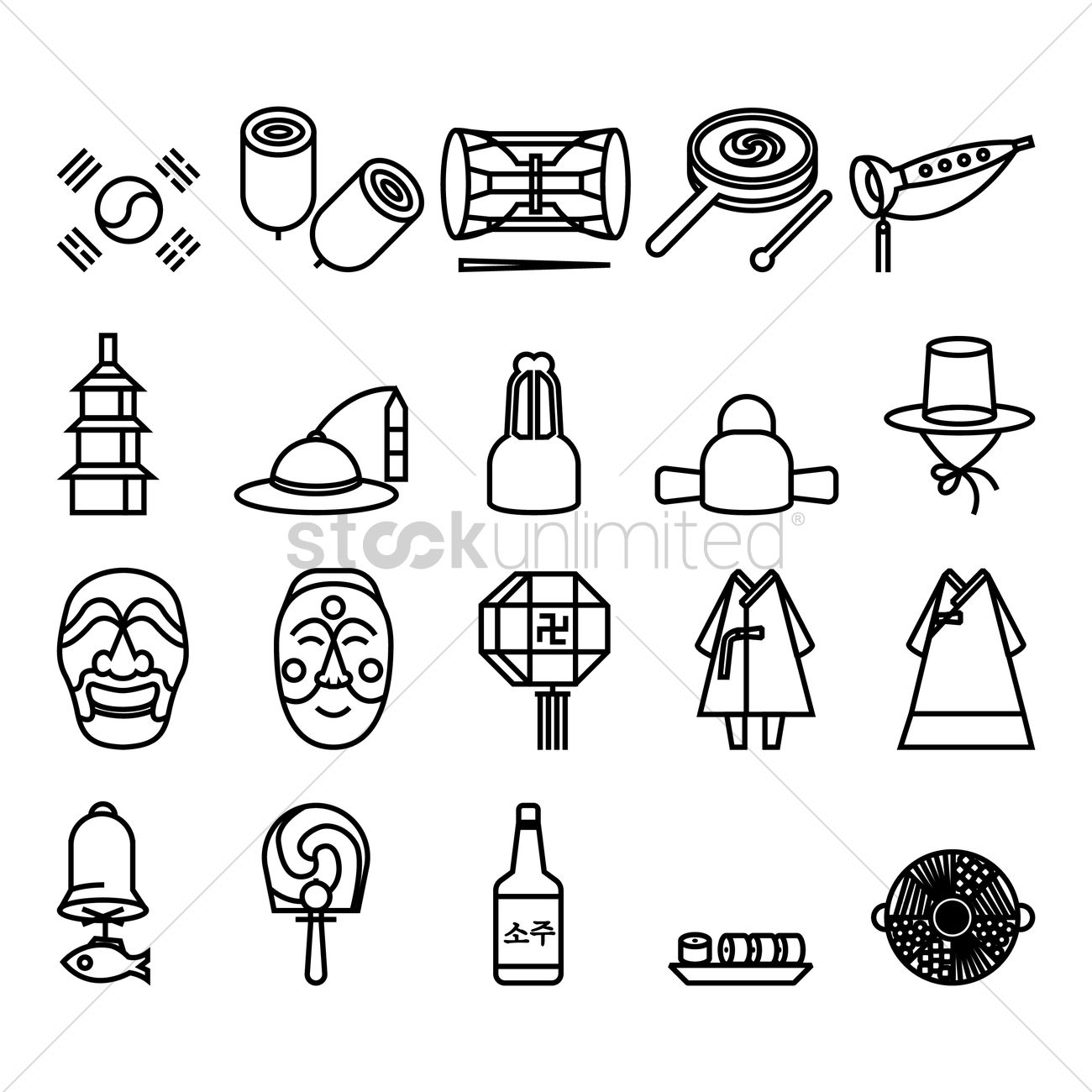 Korean General Icons Vector Image