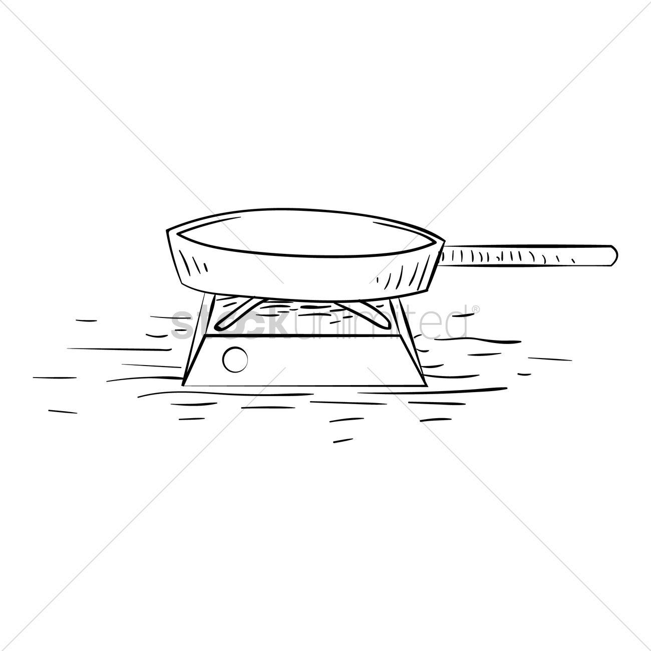 Free Pan On Gas Stove Vector Image