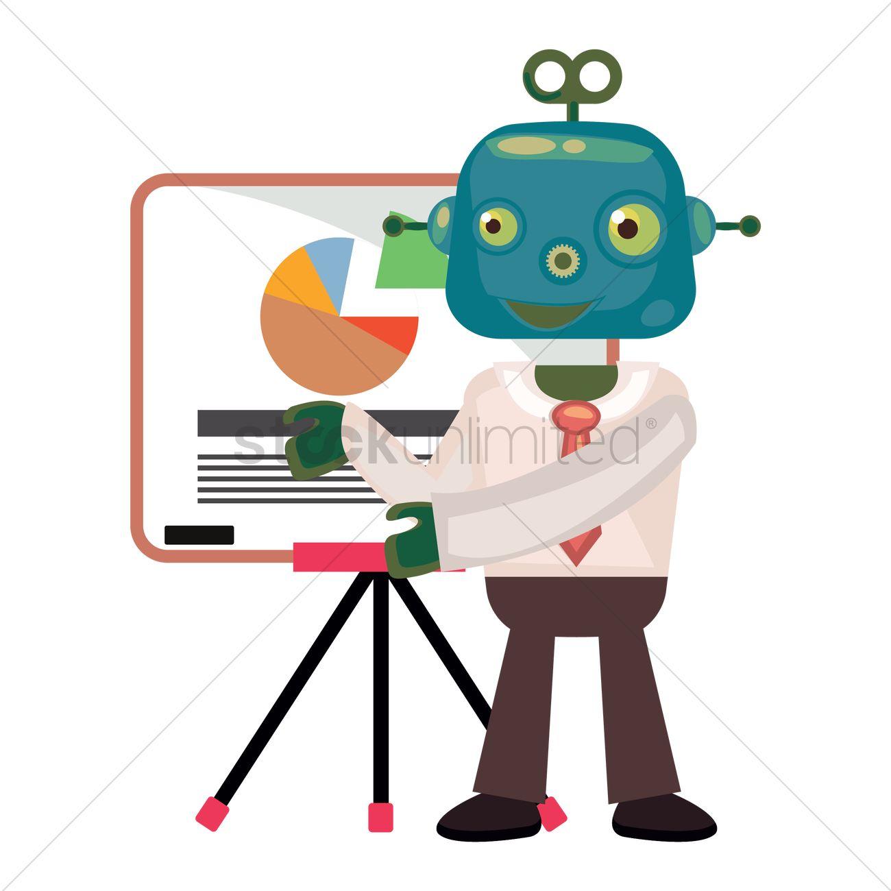 hight resolution of robot businessman pie chart graph vector graphic