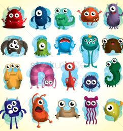 set of cute monster icons vector graphic stock clipart [ 1300 x 1300 Pixel ]