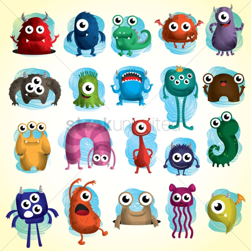 medium resolution of set of cute monster icons vector graphic stock clipart