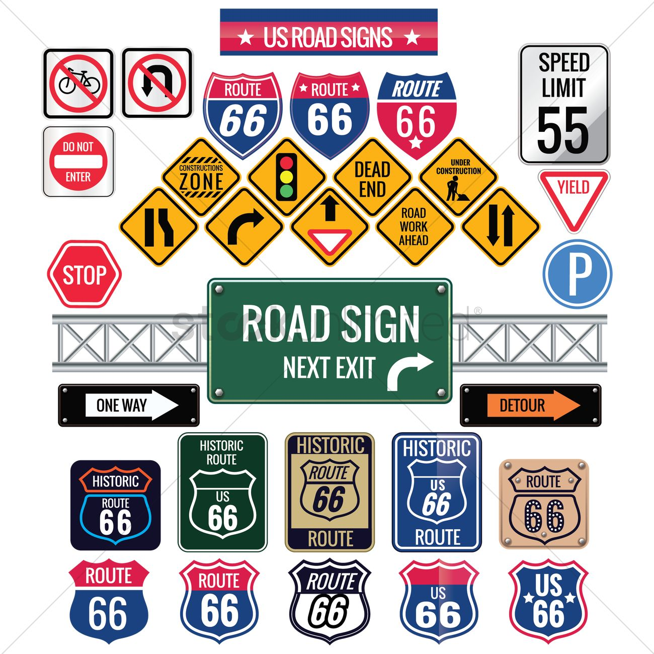 Set Of Us Road Signs Vector Image