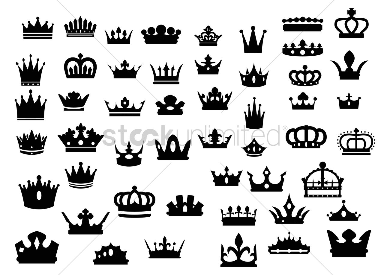Silhouette Crown Set Vector Image