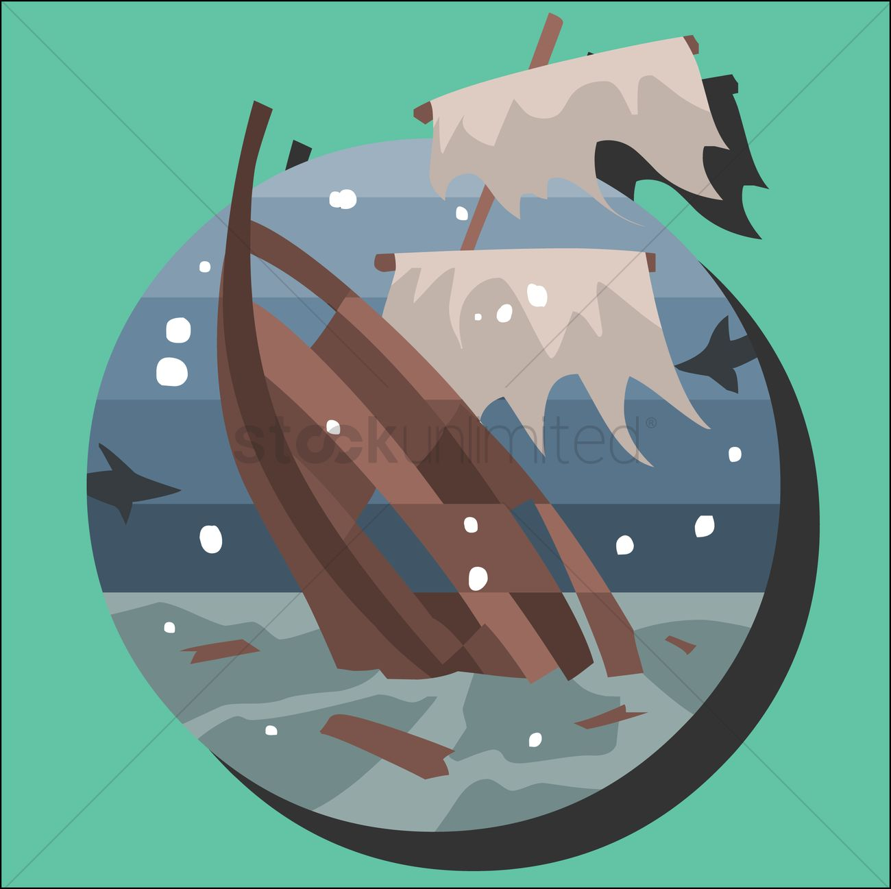 Sinking Ship In The Sea Vector Image