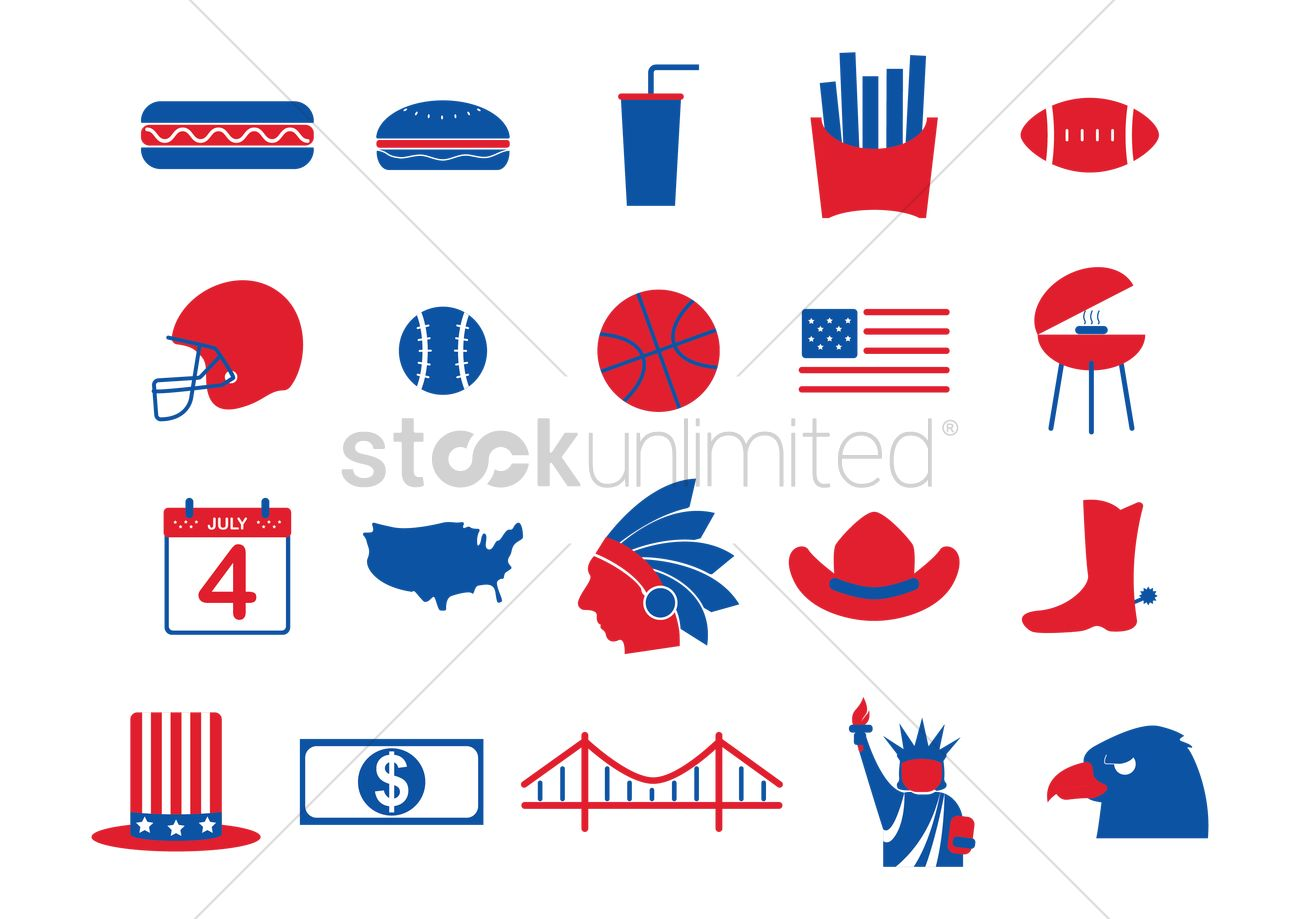 Usa Symbols Collection Vector Image