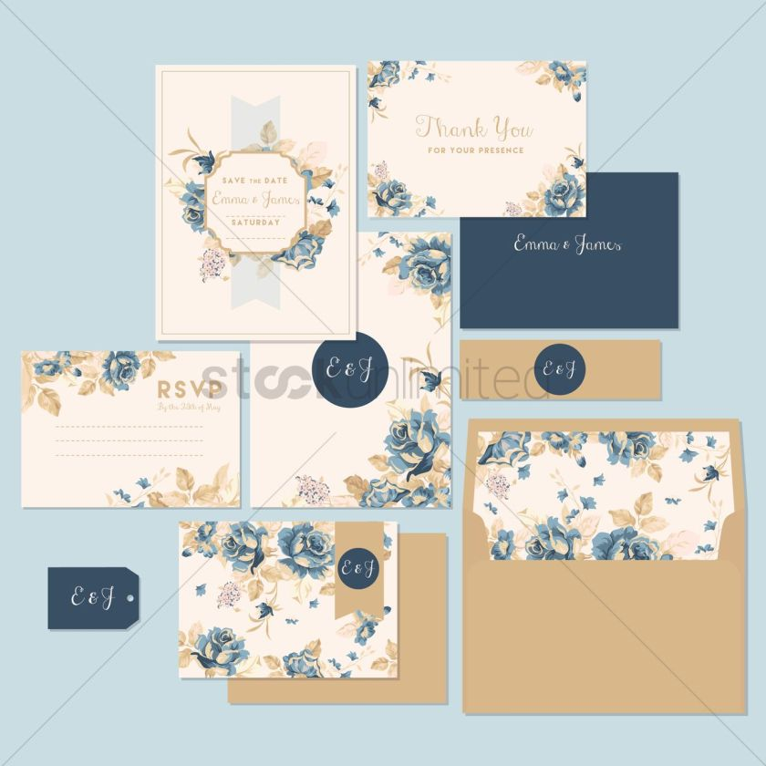 Wedding Invitation And Thank You Card Vector Graphic