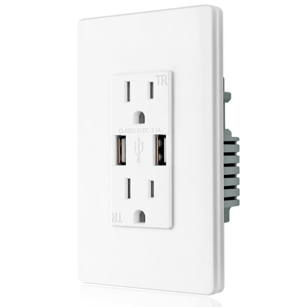 Electrical USB Charger Wall Outlet Power Plug Socket