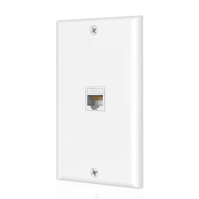 Ethernet Cat6 Wall Plate 1 Port Single Gang Plug w/ Low