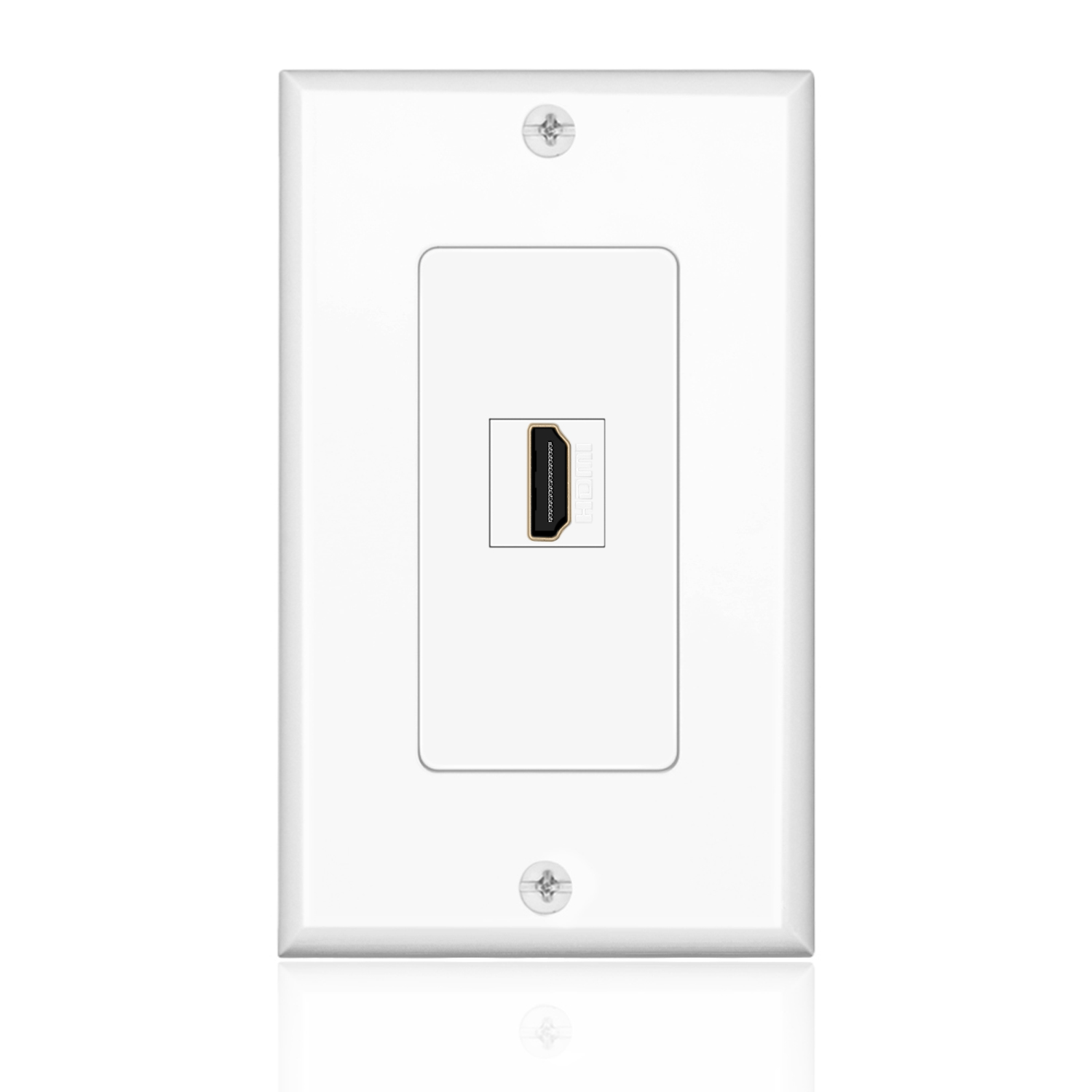 HDMI Wall Plate (1 Port, White) HDMI Socket Plug Insert