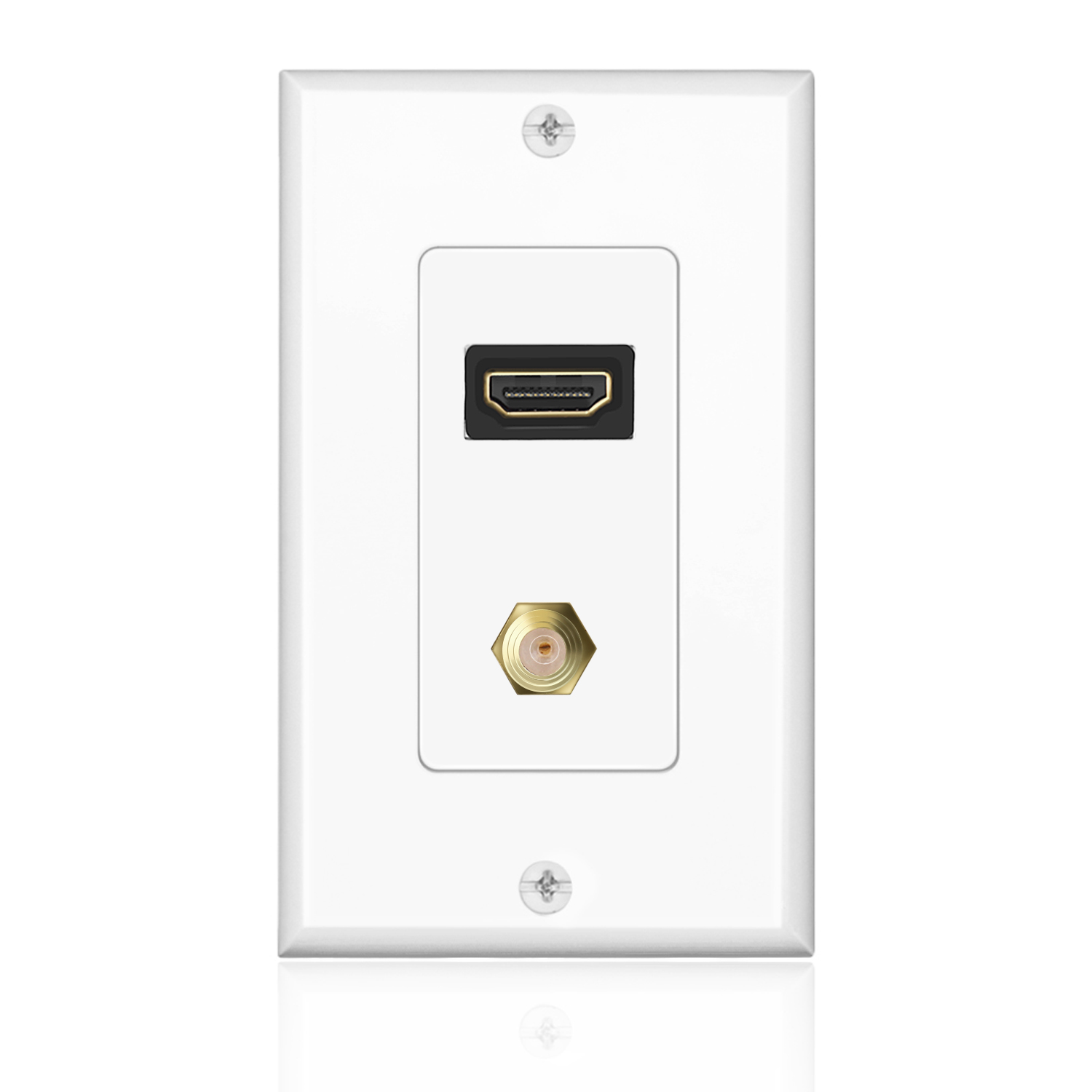 HDMI + F Connector Wall Plate Face Cover 4K 1080P Outlet