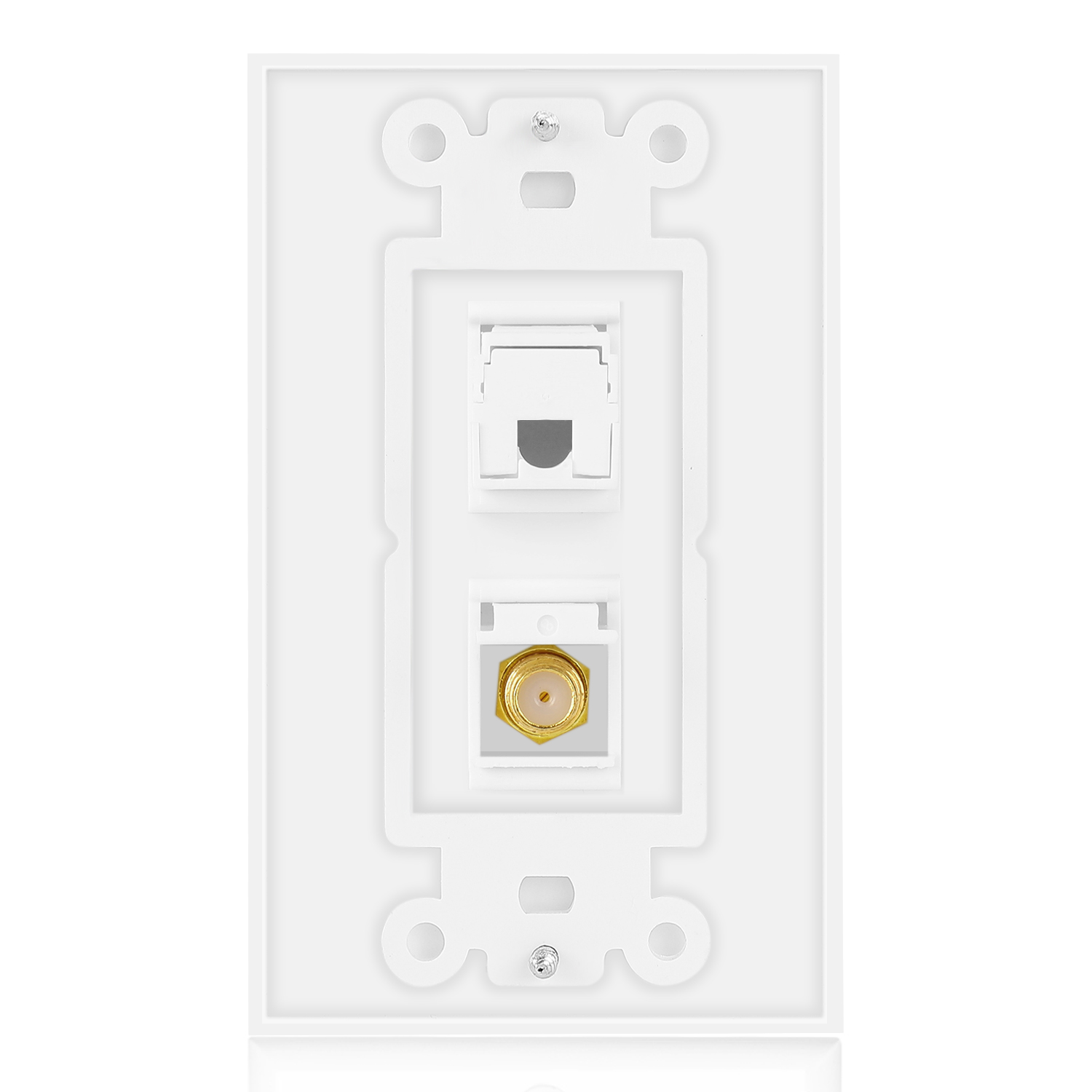 Ethernet Coax Wall Plate with 1 RJ45 Port and 1 Gold